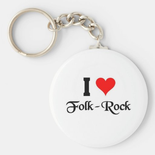 I love Folk Rock Key Chain