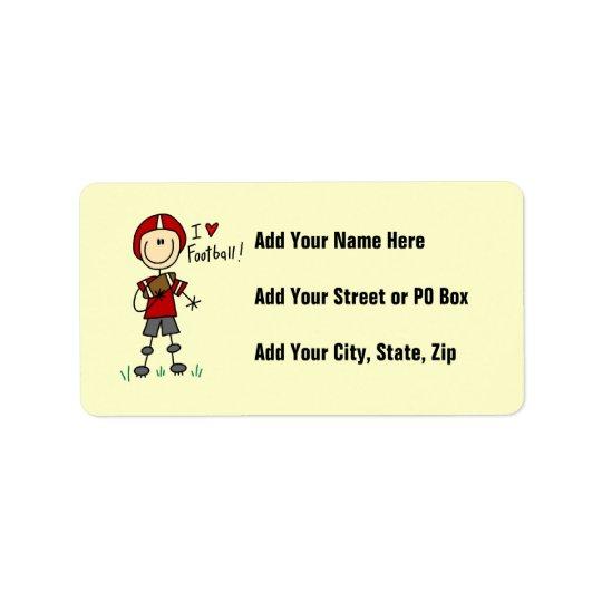 I Love Football Address Label