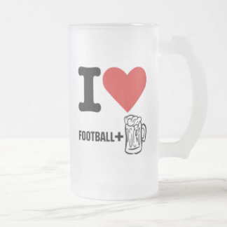 I love-football-beer frosted glass beer mug