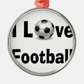 I Love Football Silver-Colored Round Decoration