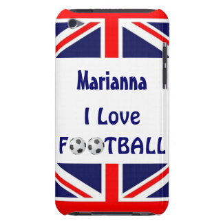 I Love Football/Soccer Balls-U.K. Flag Barely There iPod Case