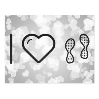 I Love Footprint Blurs Postcard