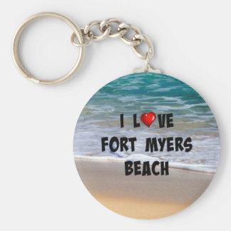 I Love Fort Myers Beach Basic Round Button Key Ring