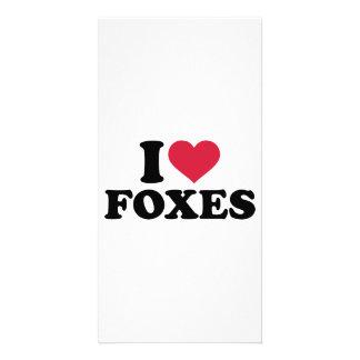 I love foxes custom photo card