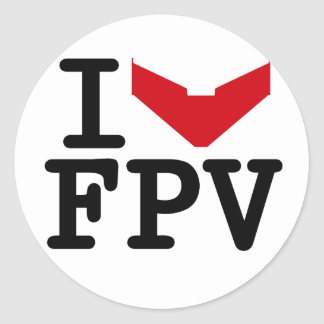 I love FPV Classic Round Sticker
