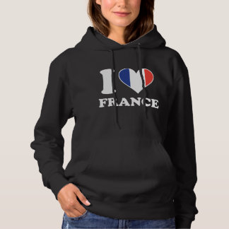 I Love France French Flag Heart Hoodie