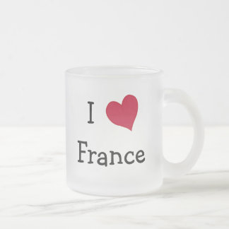I Love France Frosted Glass Coffee Mug