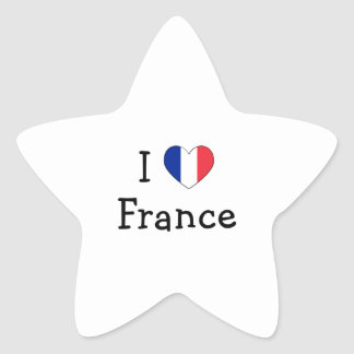 I Love France Star Stickers