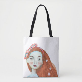 I love freckles tote bag cute red head girl