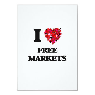 I Love Free Markets 9 Cm X 13 Cm Invitation Card