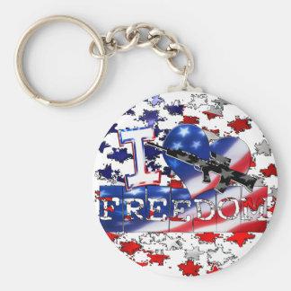 I LOVE FREEDOM - FIGHT FOR IT (GUN SYMBOL) BASIC ROUND BUTTON KEY RING