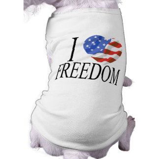 I Love Freedom US Flag Heart American Free Sleeveless Dog Shirt