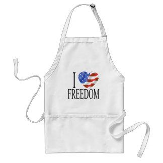 I Love Freedom US Flag Heart American Free Standard Apron
