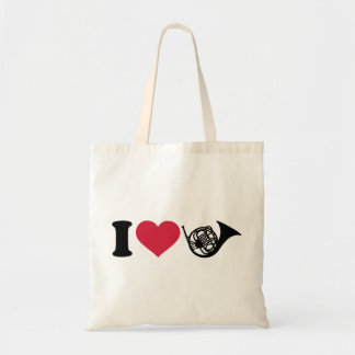 I love french horn tote bag