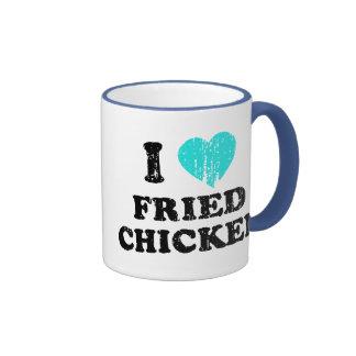 I Love Fried Chicken Ringer Coffee Mug