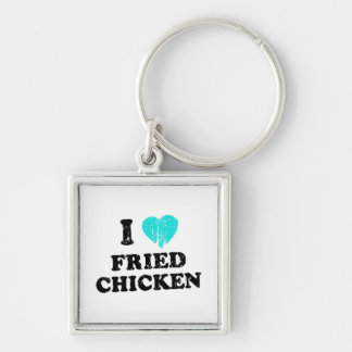 I Love Fried Chicken Silver-Colored Square Key Ring