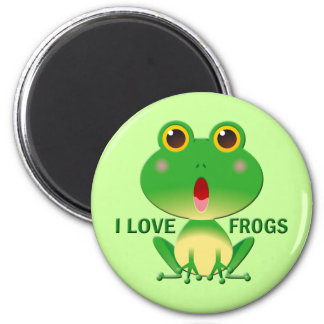 I LOVE FROGS 6 CM ROUND MAGNET