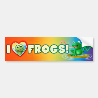 I Love Frogs fun wacky bumper sticker