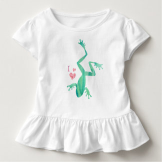 I Love Frogs Toddler Girls T Shirt Watercolor