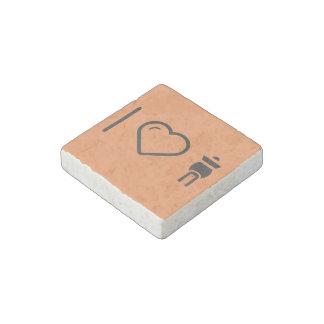 I Love Fu Manchu Moustaches Stone Magnet