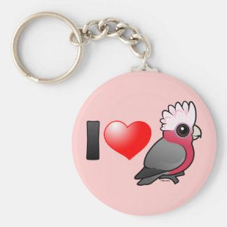 I Love Galahs (crest up) Basic Round Button Key Ring