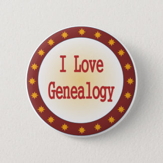 I Love Genealogy 6 Cm Round Badge