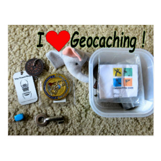 I Love Geocaching postcard: Open Cache Postcard