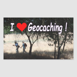 I Love Geocaching sticker with hikers