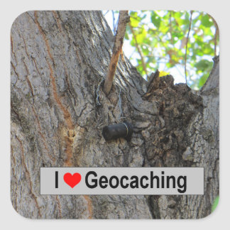 I love geocaching: Tree Hanger Square Sticker