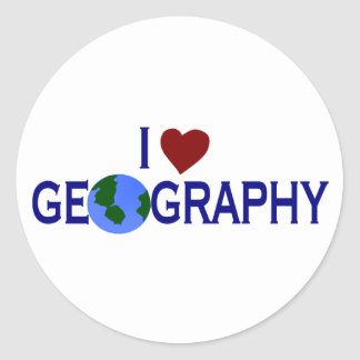 I Love Geography Round Sticker
