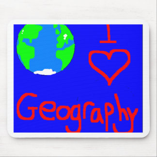 i love geography tie mouse pad