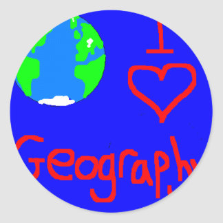 i love geography tie round sticker
