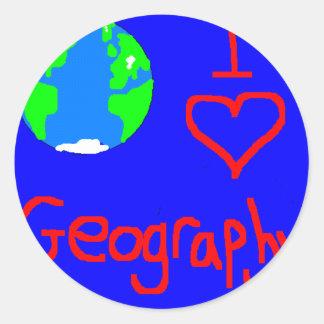 i love geography tie round sticker