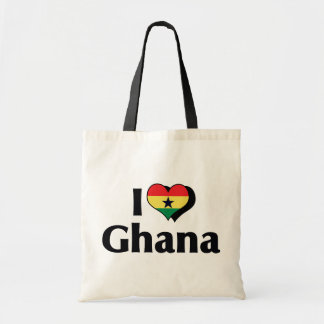 I Love Ghana Flag Tote Bag