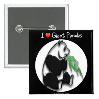 I LOVE GIANT PANDAS 15 CM SQUARE BADGE