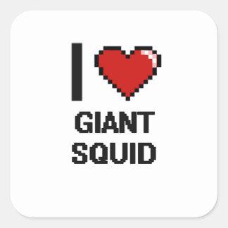 I love Giant Squid Digital Design Square Sticker