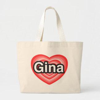 I love Gina. I love you Gina. Heart Large Tote Bag