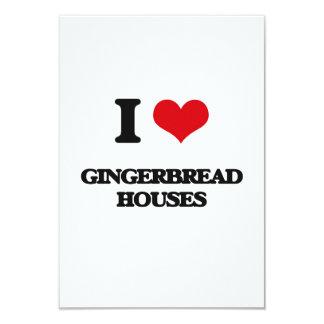 "I love Gingerbread Houses 3.5"" X 5"" Invitation Card"