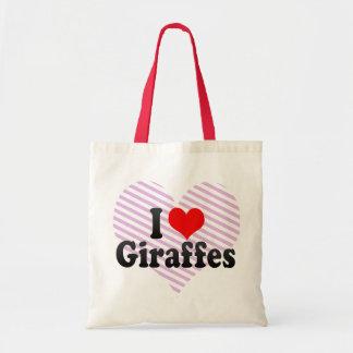 I Love Giraffes Tote Bags