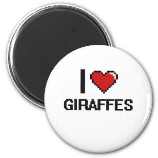 I love Giraffes Digital Design 6 Cm Round Magnet
