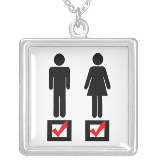I Love Girls and Boys Square Pendant Necklace