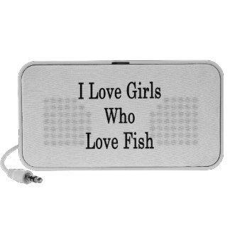I Love Girls Who Love Fish iPod Speaker