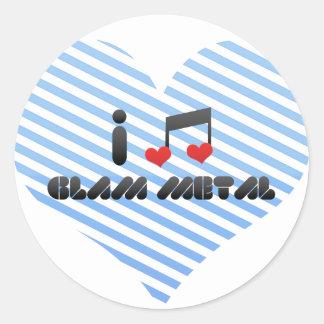 I Love Glam Metal Round Sticker