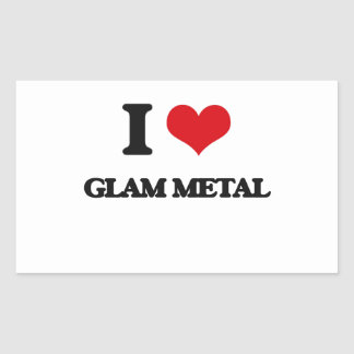 I Love GLAM METAL Rectangle Stickers