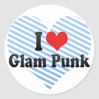 I Love Glam Punk Round Stickers