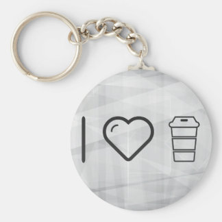 I Love Glass Covers Basic Round Button Key Ring