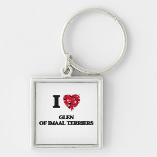 I love Glen Of Imaal Terriers Silver-Colored Square Key Ring
