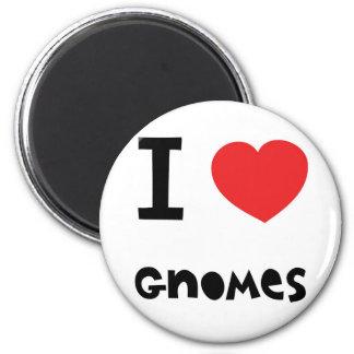 I love gnomes 6 cm round magnet