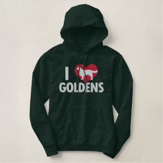 I Love Goldens Dark Embroidered Hoodie