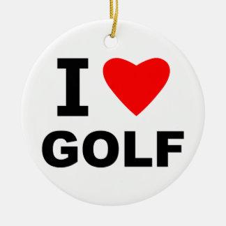 I Love Golf Ceramic Ornament
